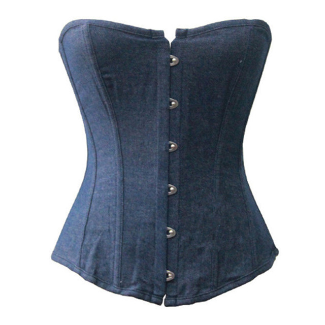 Strapless Blue Denim Corset Top And Bustier Top Ladies Boned Jeans Corselet Sexy Lingerie Underwear 3XL 4XL 5XL 6XL 2713