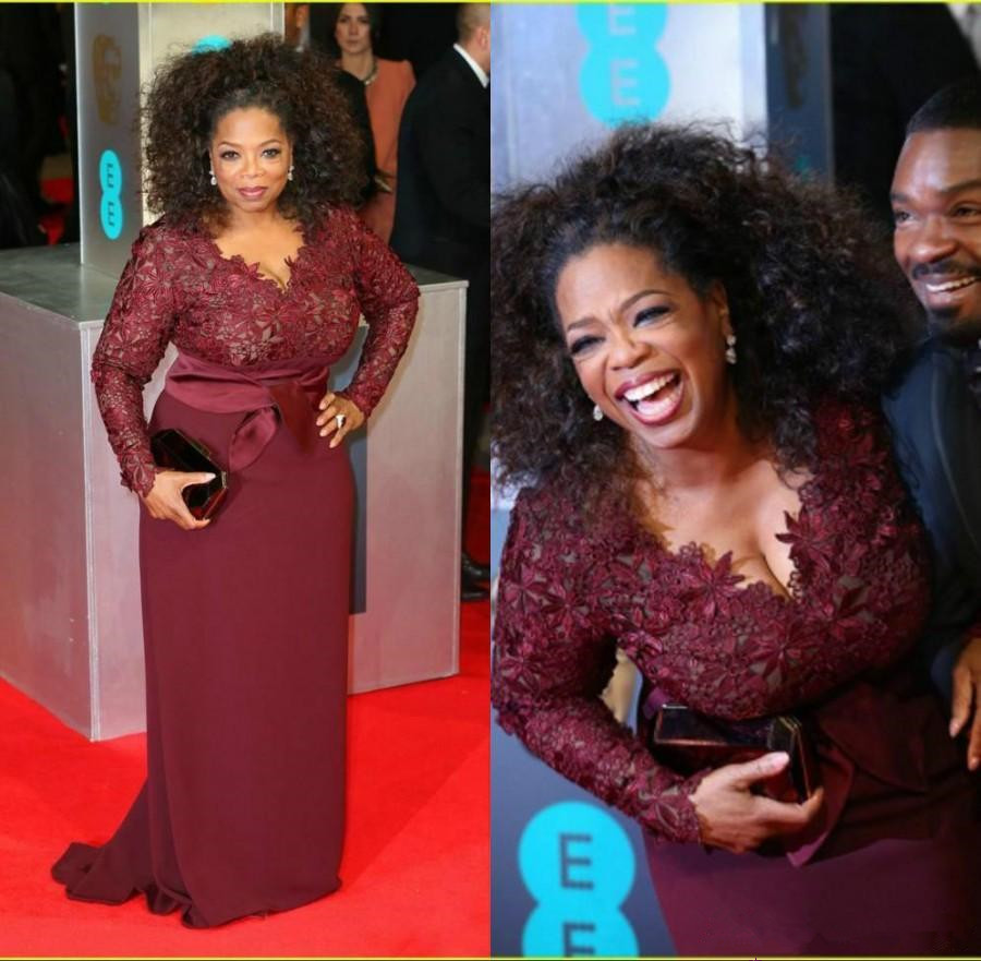 Oprah Winfrey Burgundy Long Sleeves Mother Of The Bride Dresses V