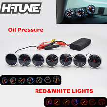 H-TUNE 2.5inch 60mm DF BF Universal Auto Oil Pressure Gauge Meter with Red&White Light Color