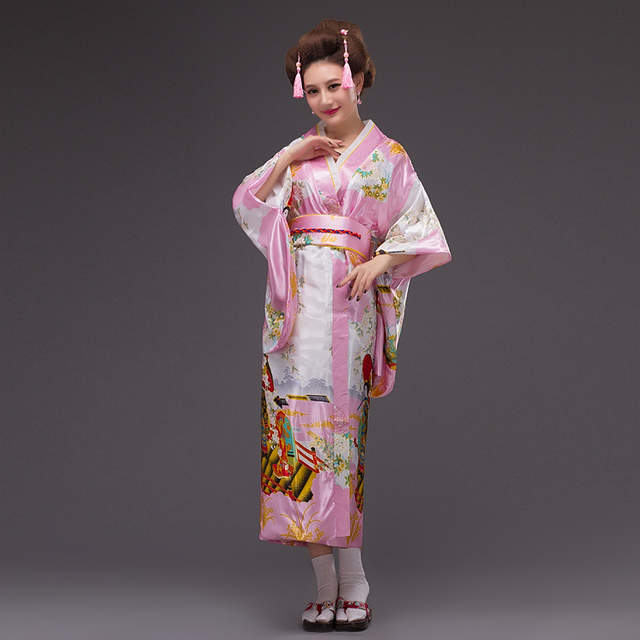 New Fashion Japanese Traditional Women Yukata with Obi Sexy Kimono Vintage  Party Prom Dress Performance Dance a8a1859156ed