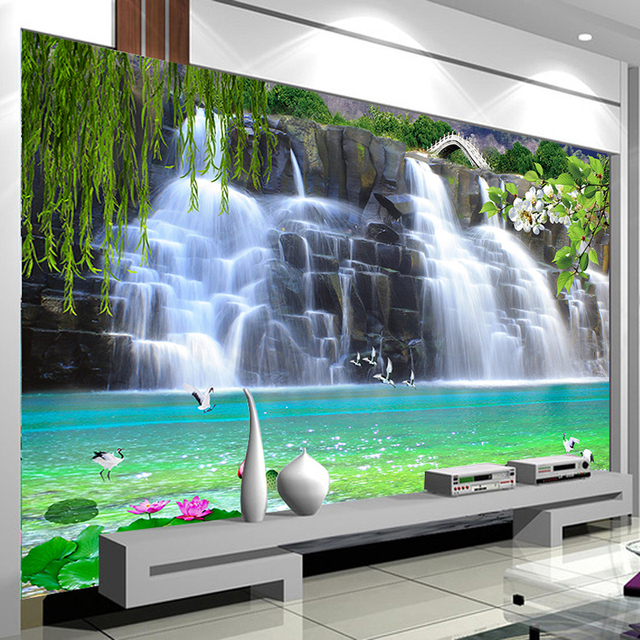 Benutzerdefinierte 3D Fototapete Wasserfall Landschaft Wand Malerei ...