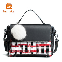 Loshaka Women Fashion Plaid Handbags with Fur Design Knitting Leater Shoulder Bags 2017 Global Shopping Festival Women Purse