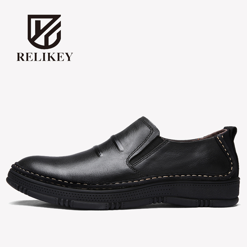RELIKEY Brand Men Loafers Handmade Genuine Leather Classics Male Flats New Arrival Big size Sewing Moccasins Men Driving Shoes relikey brand men casual handmade shoes cow suede male oxfords spring high quality genuine leather flats classics dress shoes