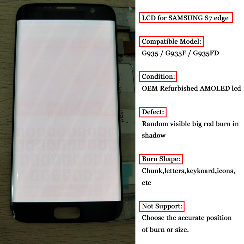 ORIGINAL 5.5'' Display with big Burn-Shadow <font><b>LCD</b></font> with Frame for <font><b>SAMSUNG</b></font> Galaxy S7 edge <font><b>G935</b></font> G935F Touch Screen Digitizer Assembly image