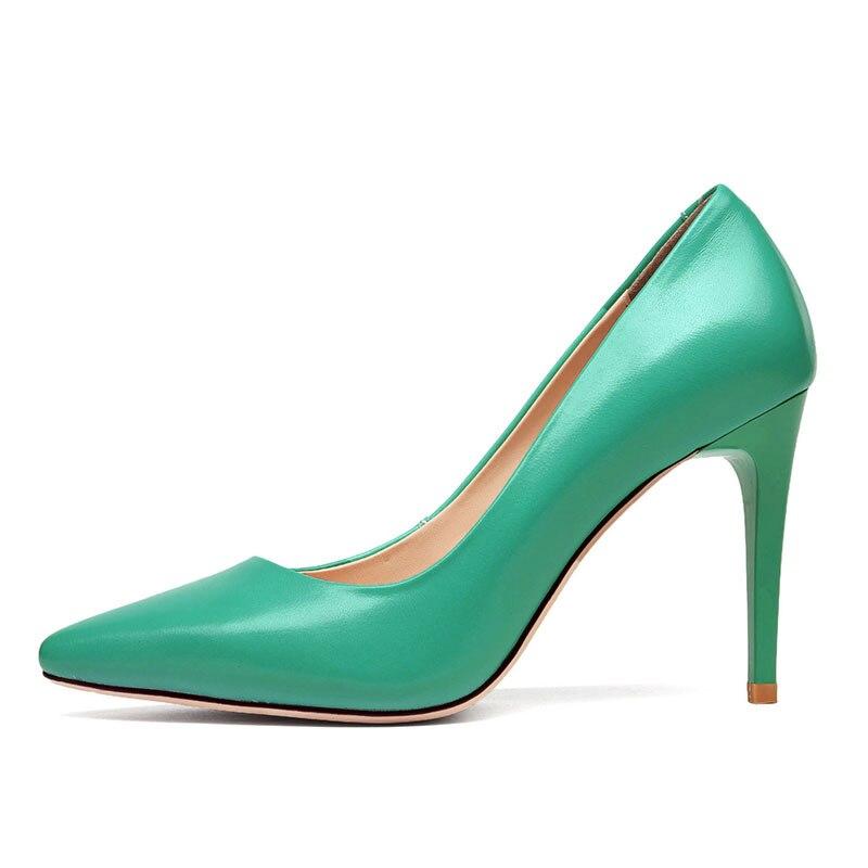 Vache black 2019 Haute Chaussures Wetkiss Talons En Vert De Nouveau Cuir Femme Peu Pompes Green Printemps Partie Pointu Femmes Bout Profonde Rv4Rwqa