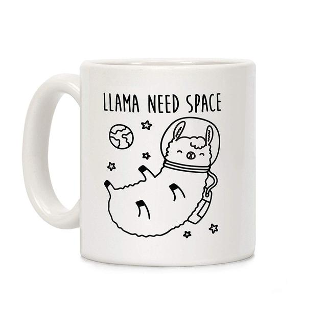 Llama Need Space Parody White 11 Ounce Ceramic Coffee Mug