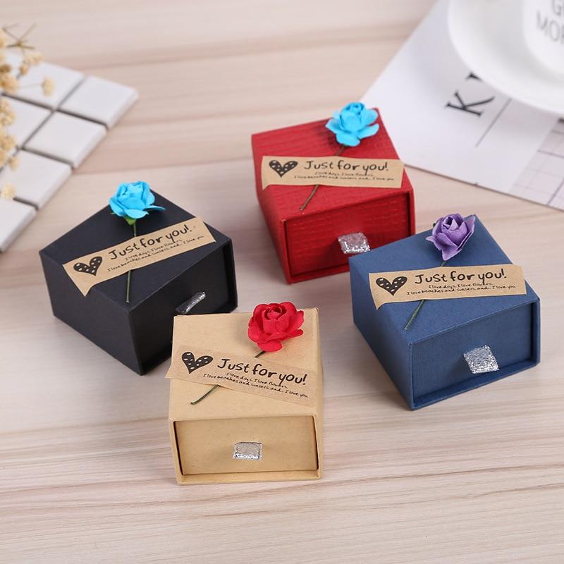 Мода красочные 2 шт. Новые 3 размеров Jewery Организатор Box Кольца для хранения кольца серьги Kraft Бумага ювелирные изделия подарок на день рожден... ...