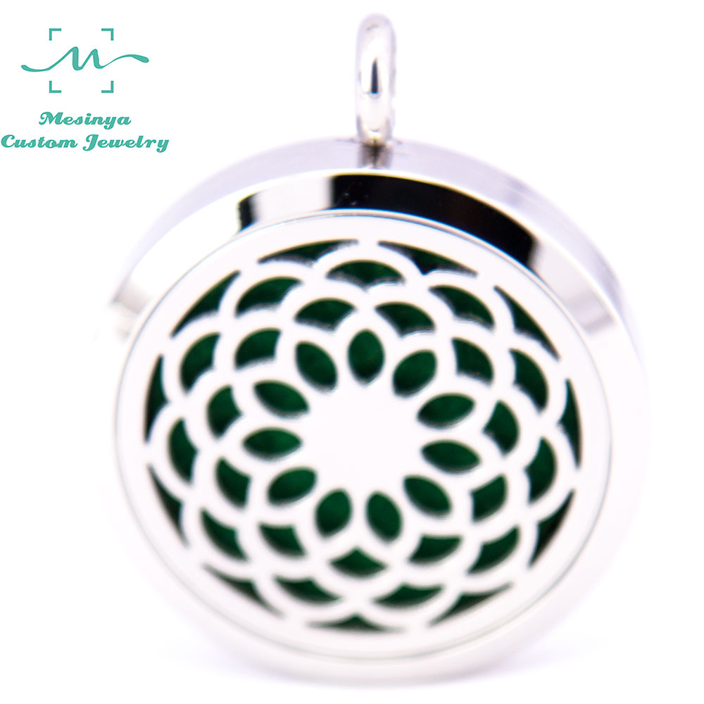 Lotus flower flower promotion shop for promotional lotus flower 10pcs silver color new lotus flower 30mm aromatherapy essential oils surgical 316l seel perfume diffuser locket necklace dhlflorist Gallery