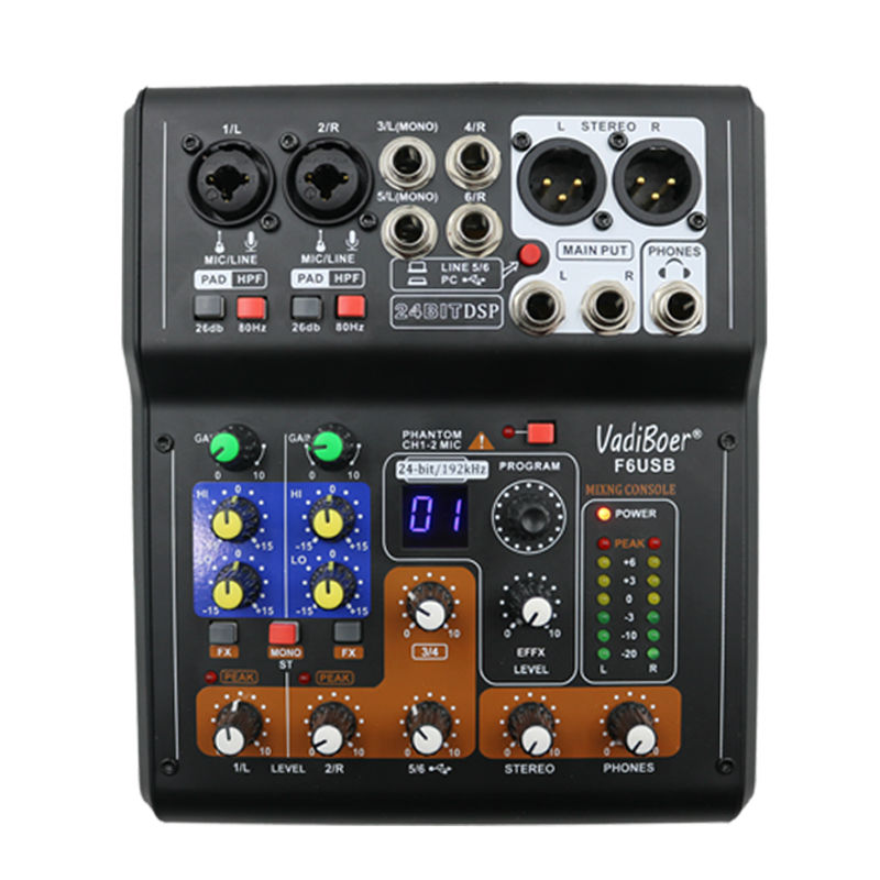Vadiboer F6 Professional 6 Channels Mixer Console With Bluetoot Effect 48V Phantom Power Supply Mini Stage Audio Console Equipme vadiboer f8 professional 6 channels mixer console with bluetooth effect 48v phantom power supply mini stage audio console equipm