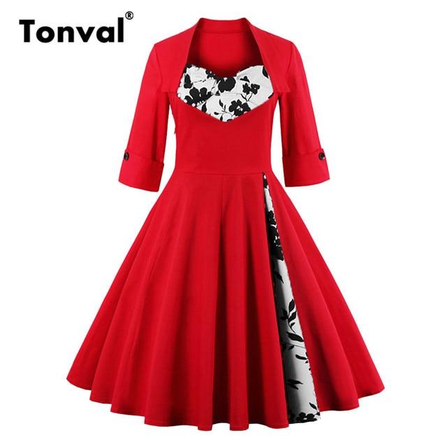 Tonval S-5XL Pontos Elegantes Mulheres Do Vintage Vestido Vermelho arco Vestido de Rockabilly 50 s Outono Plus Size Floral Retro Partido vestidos