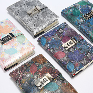 Image 1 - New A5 Leather Diary Notebook with Lock code 140 sheets paper notepad note book  Office school supplies Gift