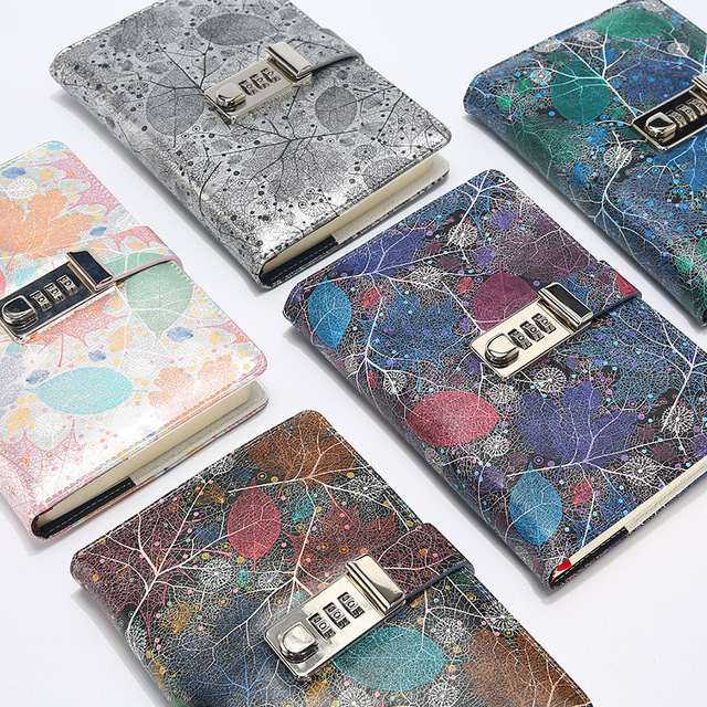 New A5 Leather Diary Notebook with Lock code 140 sheets paper notepad note book  Office school supplies Gift