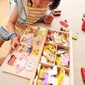 Brinquedos Tamiya Mudança Urso Roupas de Bebê Bloco de Construção Da Primeira Infância de Madeira Jigsaw Puzzle Dom Brinquedos 1-4y 72 pcs Kits Modelo