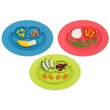 FDA approved Mini happy face silicone baby placemat with spoon PET bag packing no Spill silicone