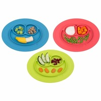 FDA Approved Mini Happy Face Silicone Baby Placemat With Spoon PET Bag Packing No Spill