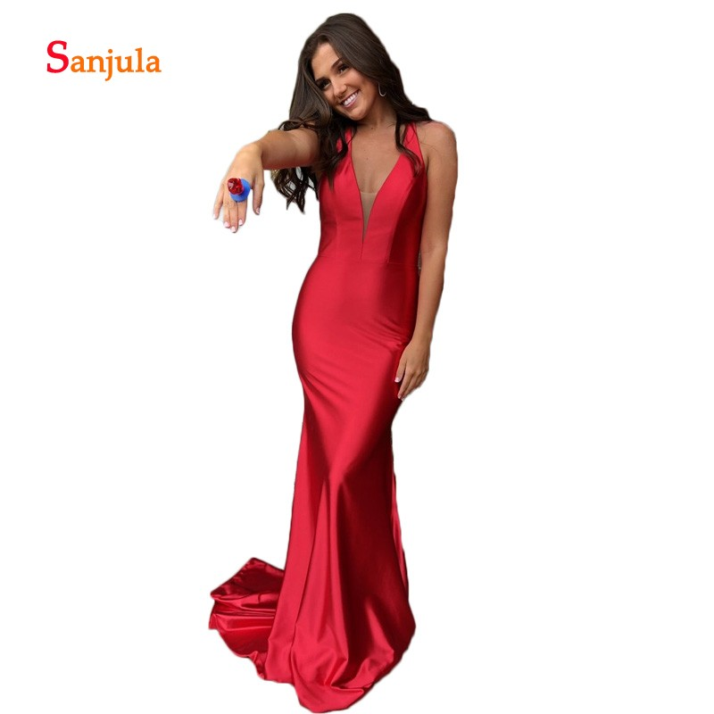 Red Satin   Prom     Dresses   Long 2019 Newly V Neck Halter Sheath Formal Occasion   Dresses   for Girls Cheap Graduation Gowns D833
