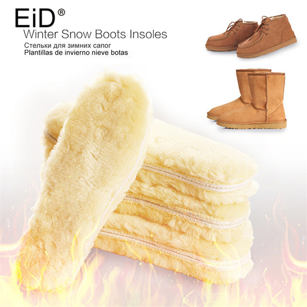 EID Warm Heated Insoles Soles For Shoes Winter Thick Pad Warm Insoles Imitation Wool Breathable Snow Boots Fur Insoles Pad