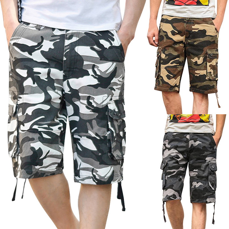 CALOFE 2018 New Camouflage Loose Cargo Shorts Men Cool Summer Military Camo Short Pants Homme Cargo Shorts Soft Quick Dry
