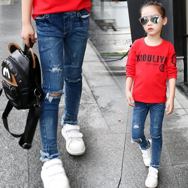 Niños Pantalones Vaqueros Rasgados Para Niñas Ropa de la Marca Casual Pantalones Lápiz Pantalones Vaqueros de las muchachas Niños Del Otoño Del Resorte Ropa 5 7 9 11 años