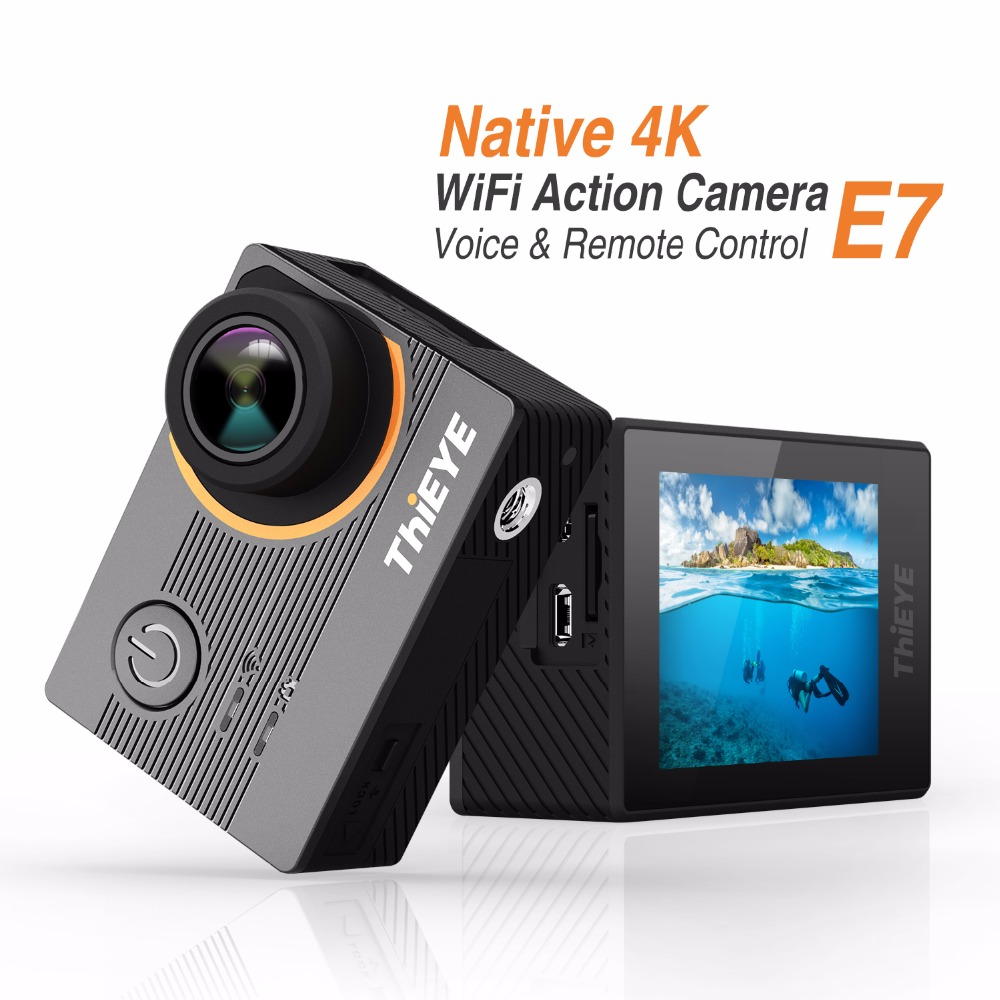 Thieye E7 Sport Action Camera ICatch V50 Sport Camera 2.0 Inch LCD Diving WiFi 4K 30FPS EIS 170 FOV Voice Control Action Camera gitup git1 1 5 inch lcd wifi rf control action camera
