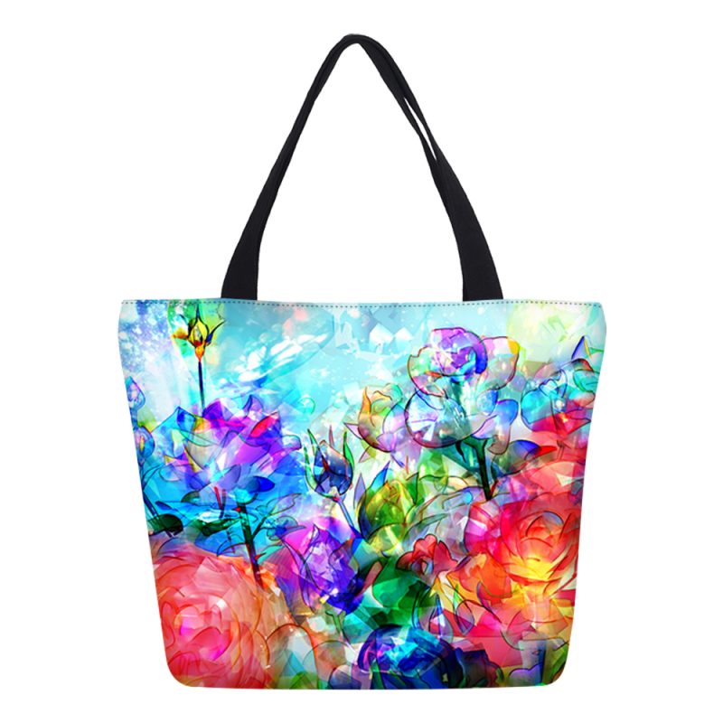 Hynes Eagle Brand Designer Colourful Flower Printing Shopping Bag Women Handbags Canvas Shoulder Bags Lady Tablets Beach Bag