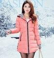 Por la chaqueta larga de algodón con capucha, xxxl mujeres abrigo de invierno delgado corea del acolchado Parkas Mujer 9 colores