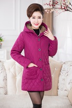 Coats Middle-aged mom increase code fashion female models padded hooded coat and long sections  426