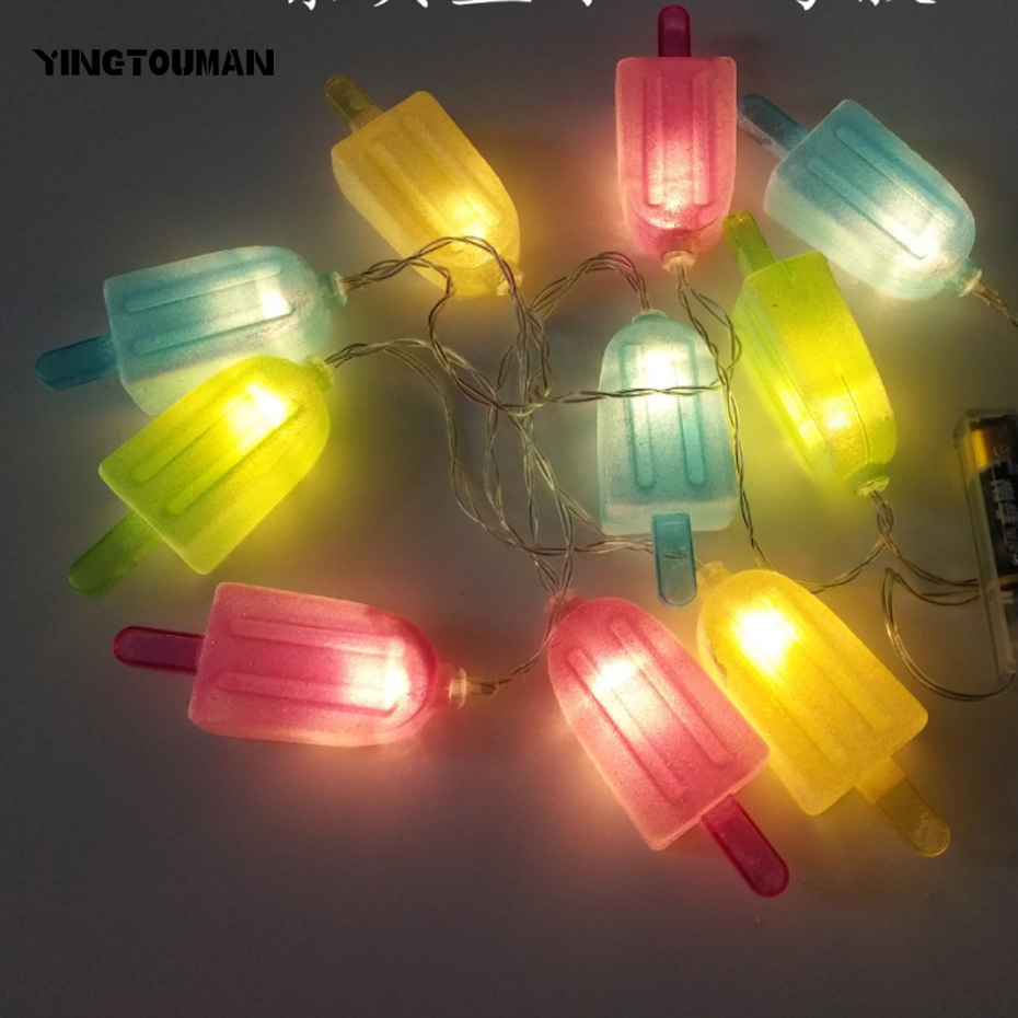 YINGTOUMAN Ice Cream Type Battery Powered Christmas Holiday Party Decoration Light Garden String Lights Outdoor Decorative Lamp