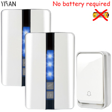 YIFAN New Wireless Door bell Waterproof self powered with no battery EU Plug smart DoorBell 1 button 2 receiver Deaf 110v 220v