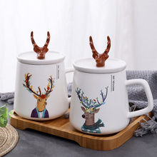 Nordic Wind INS Creative Antler Ceramic Cups With Lid Cartoon Mugs Student Lovers Coffee Cute Milk Mug Christmas