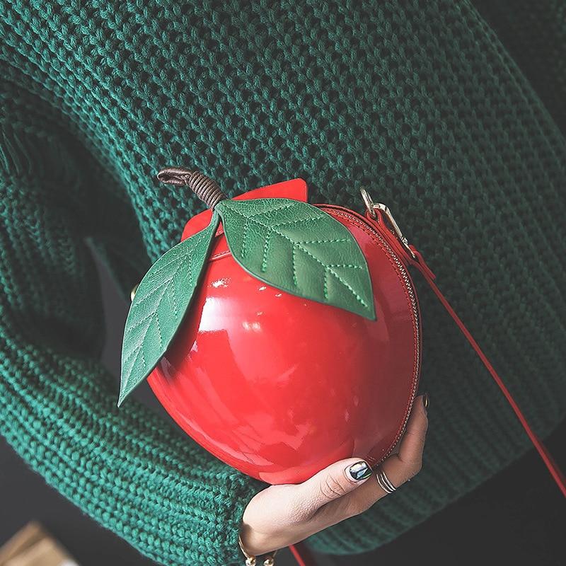 Korean Fashion Cute Cartoon Bags Apple shape shoulder Bag new small messenger Bags personality Crossbody Bag wholesale the new cute cartoon planet brooch all match fashion personality