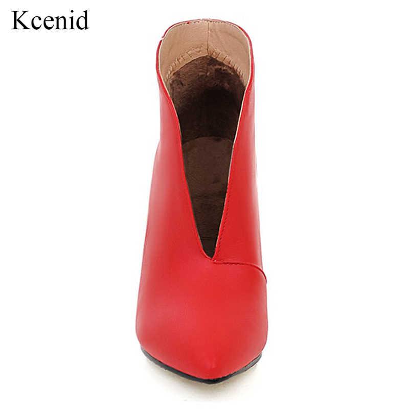 Kcenid ด้านหน้าลึก V เปิดข้อเท้าข้อเท้า slip เซ็กซี่รองเท้าส้นสูงรองเท้าผู้หญิงรองเท้าบูทแฟชั่นฤดูหนาวรองเท้าเงินสีแดง