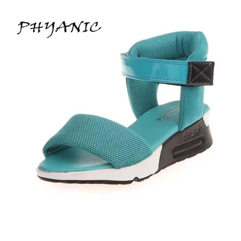 PHYANIC Women Sandals 2017 Med Wedge Heel Soft Cotton Fabric Summer Gladiator Casual Hook & Loop Women's Shoes PHY4053 phyanic 2017 gladiator sandals gold silver shoes woman summer platform wedges glitters creepers casual women shoes phy3323