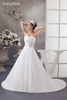 Custom Made Wedding Dresses 2017 Cheap Celebrity Strapless White Satin Bridal Ball Gown Crystal Bridal Gown