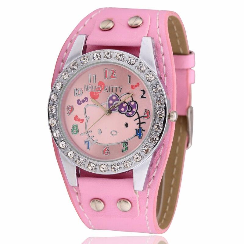 Relogio Feminino Watch Girls Relojes Cartoon Children Watch Pink Cute Kitten Watches Fashion School Kids Leather Clock 2019 New