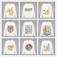 Spring Autumn Long Sleeve Anime T-Shirt pikachu Clothing Unisex Adults Child Polyester Cosplay pokemon tshirt