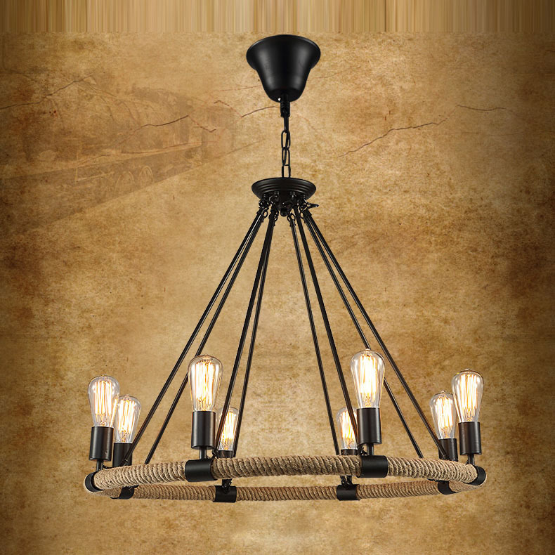 Vintage Industries Hemp Rope Metal Living Room Pendant Lamp European Retro Dining Bedroom Country Rustic
