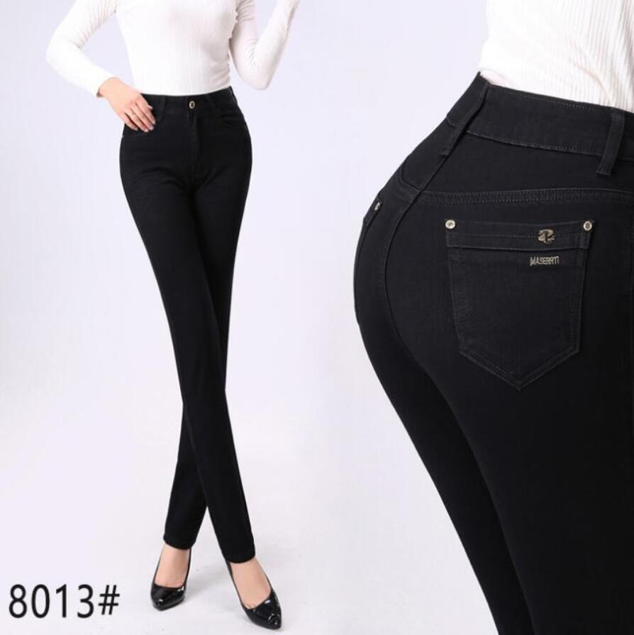 High Quality Autumn Winter Women High Waist Jeans Skinny Jeans Woman Denim Pants Plus Size Stretch Womens Jeans