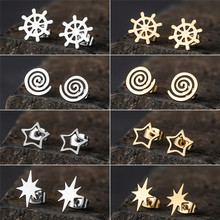 2019 New Trendy Minimalist Cute Silver and Golden Multiple shapes Stainless steel stud earrings For Women And Girl Party Jewelry