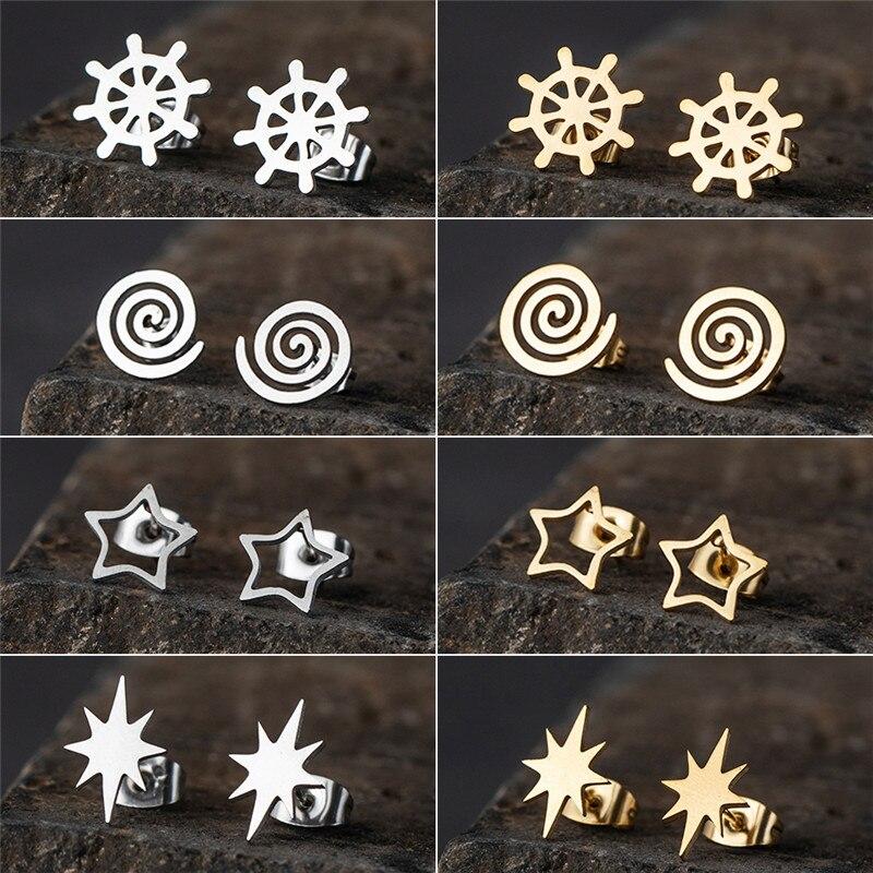 Brincos minimalista, brincos dourados de várias formas de aço inoxidável para mulheres e meninas, acessórios de joias de festa