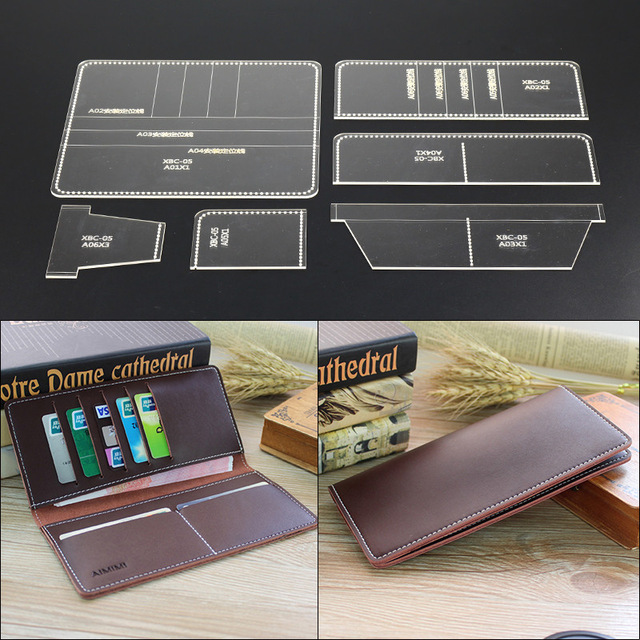1 Set Acrylic Leather Template Home Handwork Leathercraft Sewing Pattern Tools Accessory Long Wallet Clip 9*10*1cm