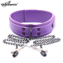 лучшая цена Sex Toys For Woman Bdsm Collar Nipple Clamps Bondage PU Leather Metal Chain Fetish Slave Couples Restraints Erotic Adult Games