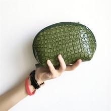 Free Shipping Fashion Microfiber Cosmetic Bags Green Patent Leather Makeup Storage Bag Women Clutch Wash Bags SGJM221