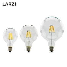 LARZI LED Edison Bulb E27 G80 G95 G125 220V Filament Light 2W 4W 6W 8W Antique Retro Vintage Glass Lamp
