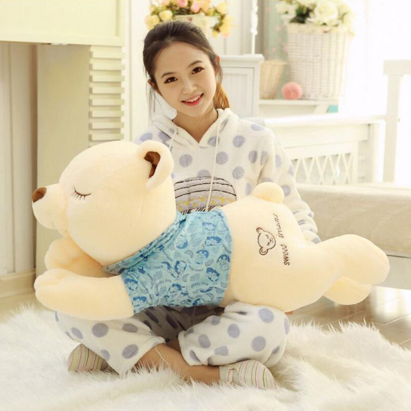 Lovely Bear 110CM Plush Pillow Teddy Bear Plush Toy Large Doll Hugging Bear Papa Bear Stuffed Animal Cute Plush Toy Kids Toy stuffed animal 120 cm cute love rabbit plush toy pink or purple floral love rabbit soft doll gift w2226