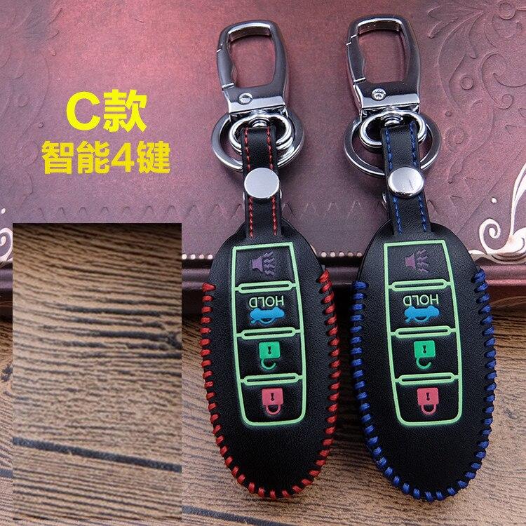 Luminous Genuine Leather car key cover case for Nissan X-Trail Qashqai Cube Juke Pathfinder TIIDA Murano Rouge Versa 370z key