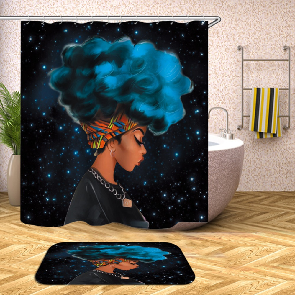 Colorful Eco friendly African Woman Shower Curtain