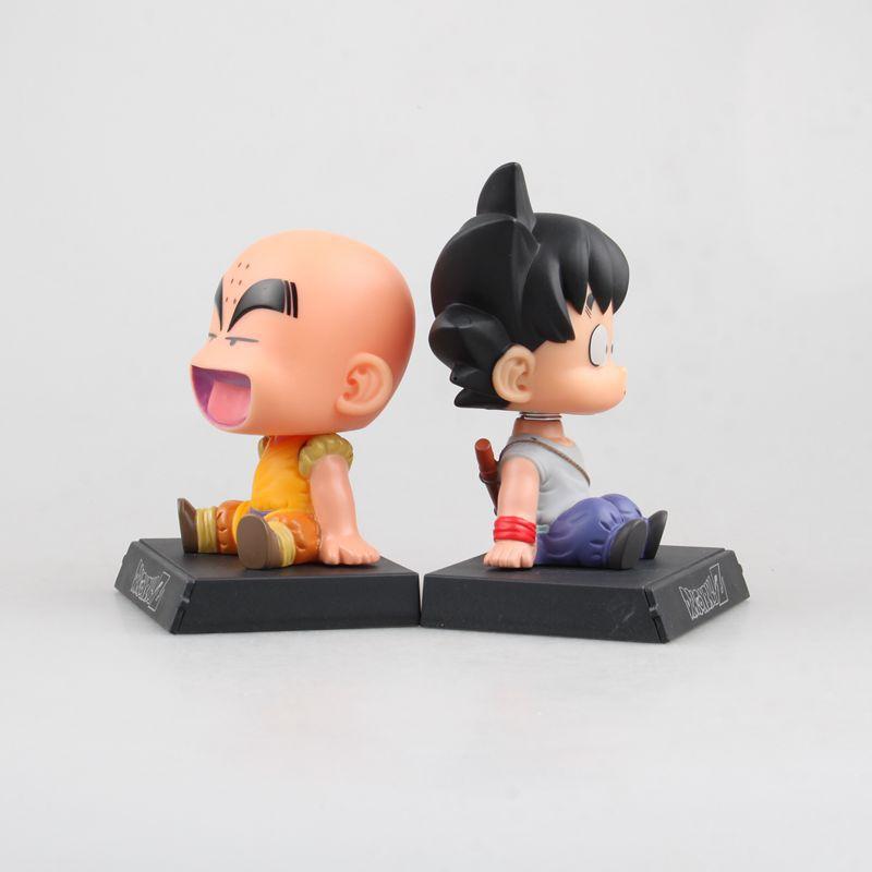Anime Dragon Ball Z Goku Kuririn Car Decoration Shaking His Head Doll Phone Bracket Action Figure Toy Height About 12cm