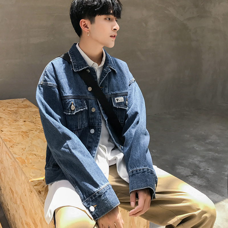 Autumn New Men Denim Jacket Male Fashion Casual Loose Short Wash Jean Outerwear Coat