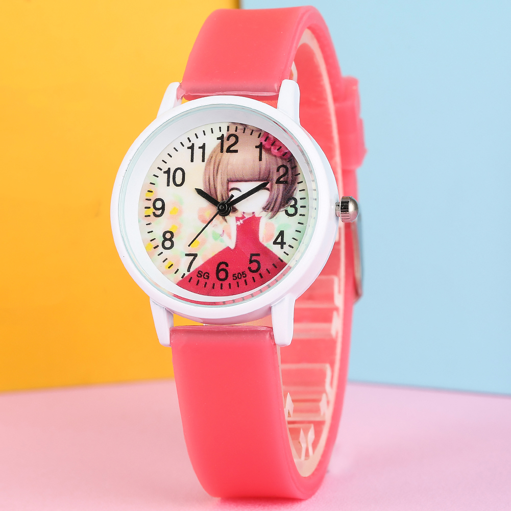 Cute Candy Color Quartz Watch For Child Exquisite Lovely Little Girl Pattern Dial Watch Classic Silicone Strap Quartz Wristwatch